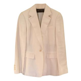 Loro Piana White Linen Tailored Jacket