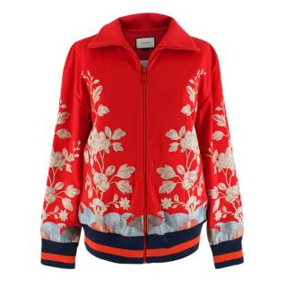 Gucci Red floral embroidered track jacket