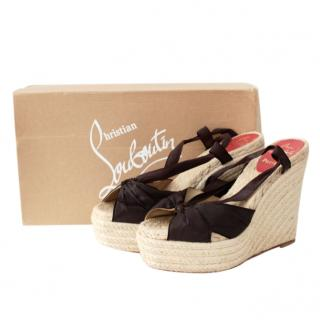 Christian Louboutin Black Espadrille Wedges