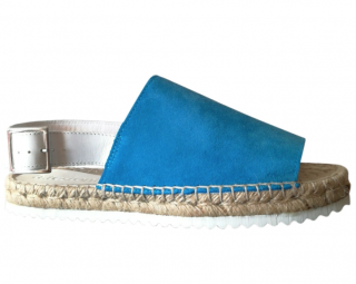 A.Testoni Blue Suede Braided Sandals