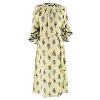 Prada Lime Green Robot Print Ruffle Trim Dress