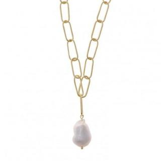 Salvatore Plata Gold Plated Fresh Water Pearl Drop Chain Necklace