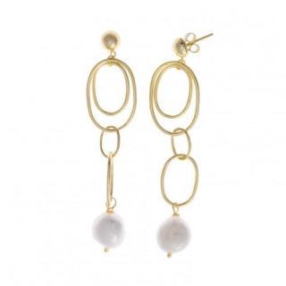 Salvatore Plata Gold Plated Pearl Hoop Drop Earrings