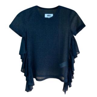 MM6 Maison Margiela Ruffle Side Metallic T-Shirt