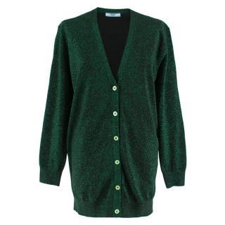 Prada emerald green lurex longline cardigan