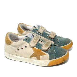 Golden Goose Kids Blue and yellow Superstar trainers