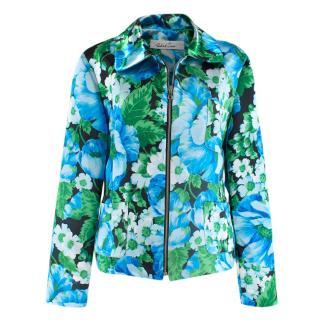 Richard Quinn Green and Blue Floral Print Jacket