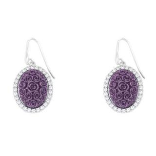 Chiaruzzi Argento Crystal Rose Style Oval Earrings