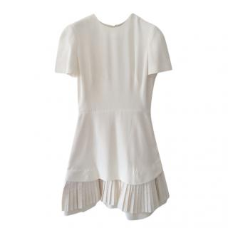 Alexander McQueen Off-White Dress with Pleated Hem
