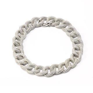 Idandi crystal embellished silver gourmette link bracelet