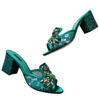Dolce & Gabbana Green Crystal Embellished Mules