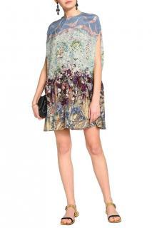 Valentino Multi-Print Silk Runway Cape Dress