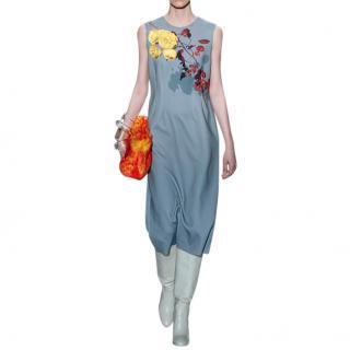 Dries Van Noten Teal Floral-print stretch-jersey midi dress