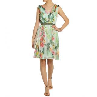 Matthew Williamson Pleated Mint Green Silk Chiffon Dress