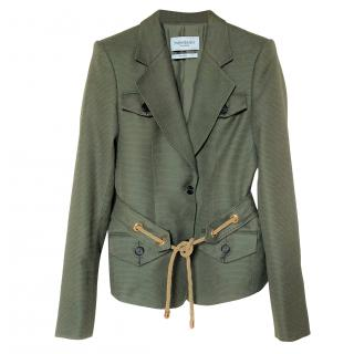 Yves Saint Laurent Khaki Silk Blend Jacket with Rope Tie