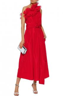 Stella McCartney Red One Shoulder Silk Organza Runway Gown
