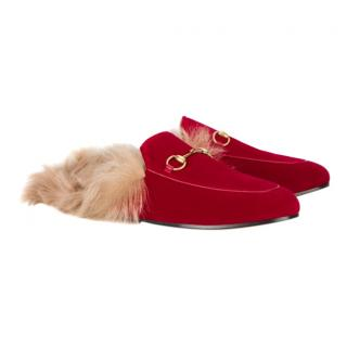 Gucci Red Princetown Velvet Fur Lined Mules