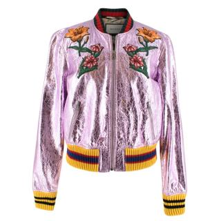 Gucci Metallic Pink Embroidered Bomber Jacket