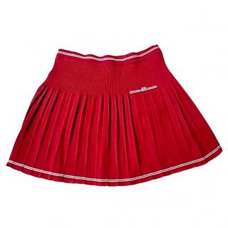 Chanel Red Pleated Tennis Mini Skirt