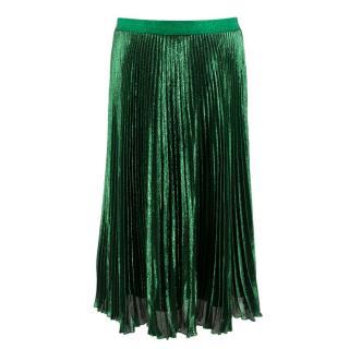 Christopher Kane Silk Blend Green Pleated Midi Skirt