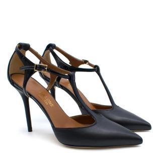 Malone Souliers Navy T-Bar Leather Sandals