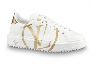 Louis Vuitton White & Gold Calfskin Time Out Sneakers