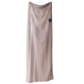 Burberry Pale Pink Lace Embroidered Maxi Skirt