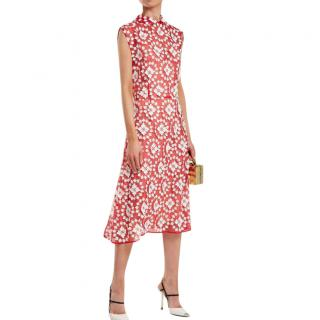 Miu Miu Red & White Floral Embroidered Sheer Dress