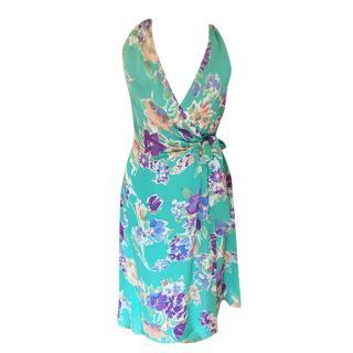 Ralph Lauren Purple Label Green Floral Halterneck Wrap Dress