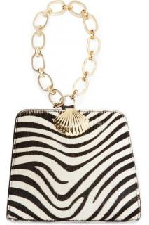 Rixo Calf Hair Zebra Print Top Handle Clutch
