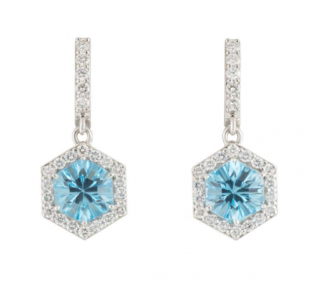 Bespoke White Gold Diamond & Topaz Earrings