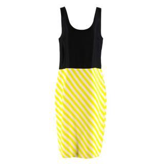 Dries Van Noten Black and Neon Stripe Slip Dress