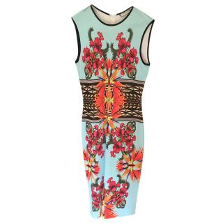 Givenchy Blue Floral Print Sleeveless Stretch Midi Dress