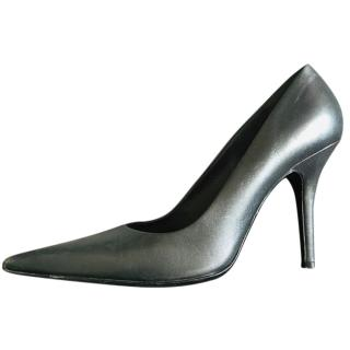Helmut Lang Leather Pewter Pumps