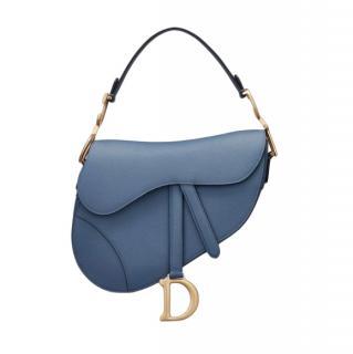 Dior Saddle bag in denim blue embossed grained calfskin