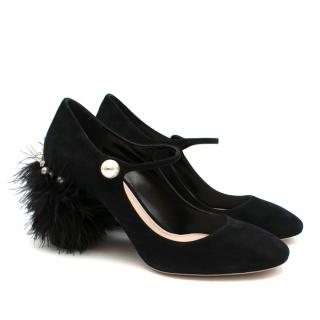 Miu Miu Black Feather Heeled Mary Jane Sandals