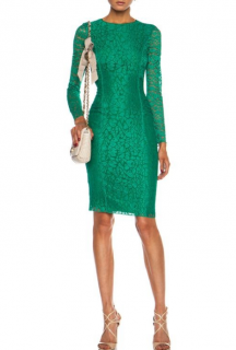 Nina Ricci Emerald Green Lace Fitted Dress