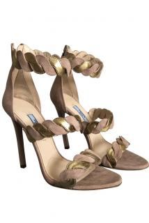 Prada nude and gold suede and leather ankle strap sandals
