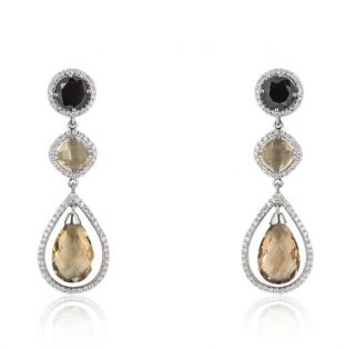 Bespoke White Gold Diamond & Quartz Drop Earrings