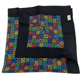 Gucci Multi-Coloured Ghost Print Silk Scarf