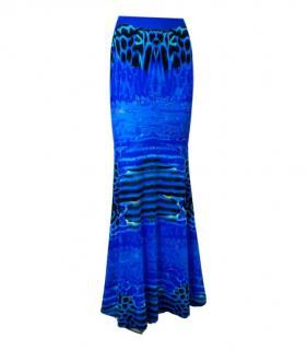 Roberto Cavalli Blue Printed Fishtail Maxi Skirt