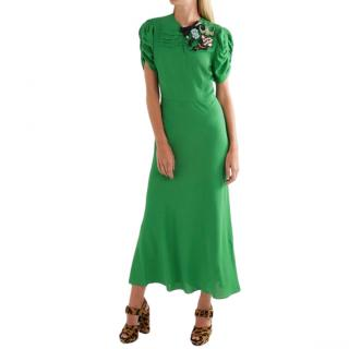 Miu Miu Green Embellished Crepe Midi Dress
