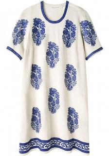 Isabel Marant White & Blue Embroidered Daryl Dress
