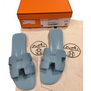 Hermes Blue Dorset Goatskin Oran Sandals