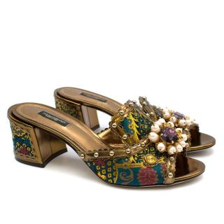 Dolce & Gabbana Brocade Crystal Embellished Mules