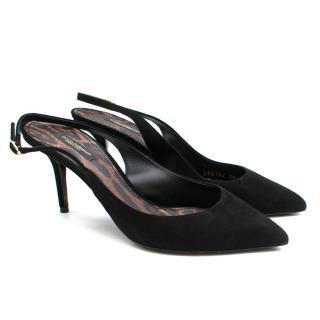 Dolce & Gabbana Black Suede Kitten Heel Slingback Sandals