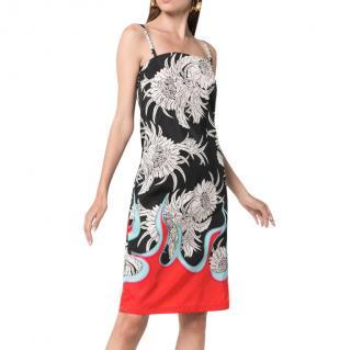 Prada Red & Black Floral Flame Print Slip Dress