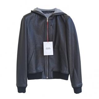 Alexander McQueen hooded black leather bomber jacket