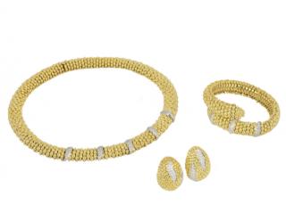 Sabbadini Necklace, Clip-On Earrings & Wrap Bracelet with Diamonds