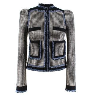 Balenciaga houndstooth tweed trim jacket